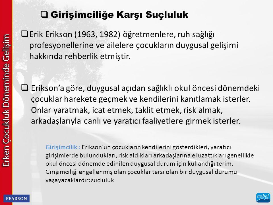  Girişimciliğe Karşı Suçluluk  Erik Erikson (1963, 1982) öğretmenlere, ruh sağlığı profesyonellerine ve ailelere çocukların duygusal gelişimi hakkında rehberlik etmiştir.