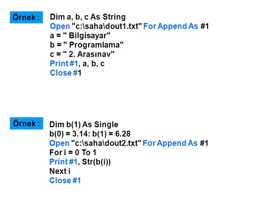 Dim a, b, c As String Open c:\saha\dout1.txt For Append As #1 a = Bilgisayar b = Programlama c = 2.