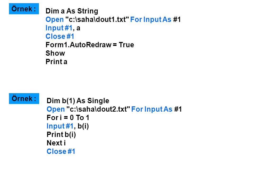 Dim a As String Open c:\saha\dout1.txt For Input As #1 Input #1, a Close #1 Form1.AutoRedraw = True Show Print a Örnek : Dim b(1) As Single Open c:\saha\dout2.txt For Input As #1 For i = 0 To 1 Input #1, b(i) Print b(i) Next i Close #1 Örnek :