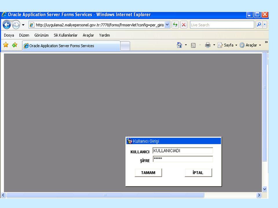 Size verilen Kullanıcı adı'nı giriniz TAB tuşu ile şifre alanına geçiniz.
