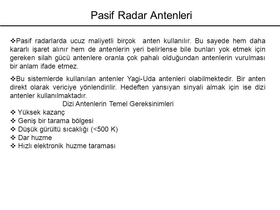 Pasif Radar Antenleri  Pasif radarlarda ucuz maliyetli birçok anten kullanılır. Bu sayede hem daha kararlı işaret alınır hem de antenlerin yeri belir