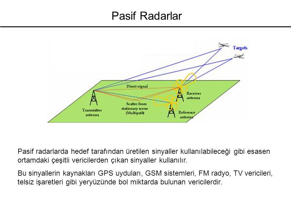 Pasif Radarlar Pasif radarlarda hedef tarafından üretilen sinyaller kullanılabileceği gibi esasen ortamdaki çeşitli vericilerden çıkan sinyaller kulla