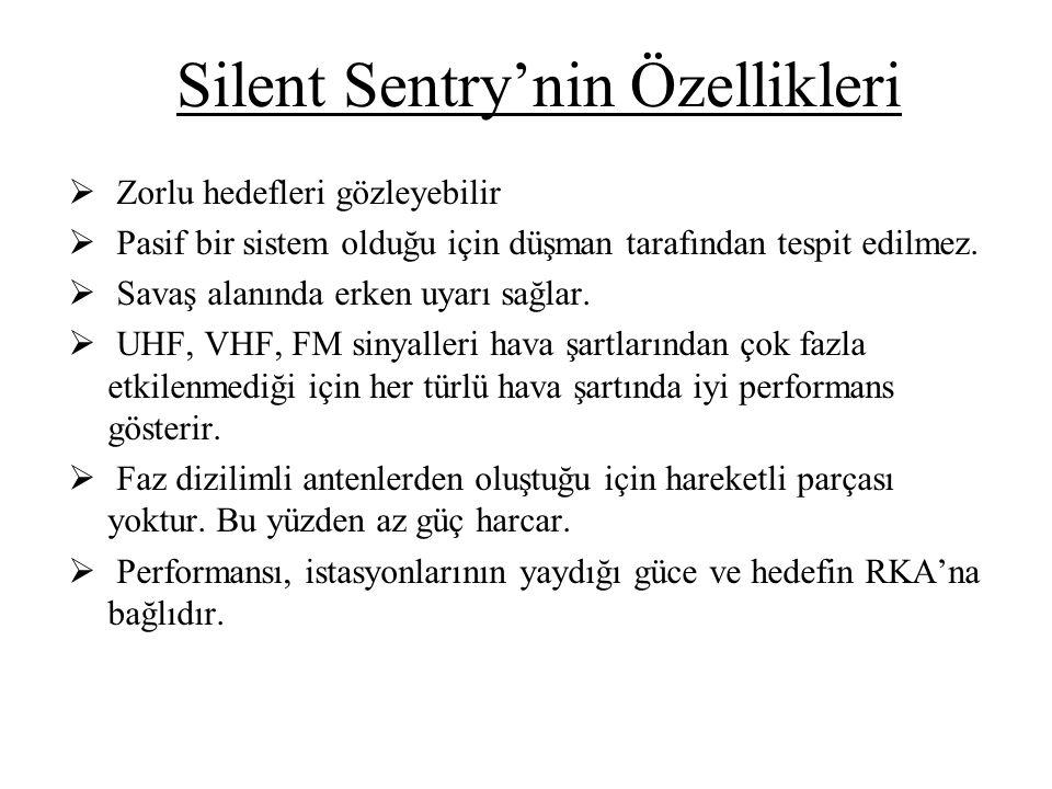 Silent Sentry'nin Özellikleri  Zorlu hedefleri gözleyebilir  Pasif bir sistem olduğu için düşman tarafından tespit edilmez.  Savaş alanında erken u