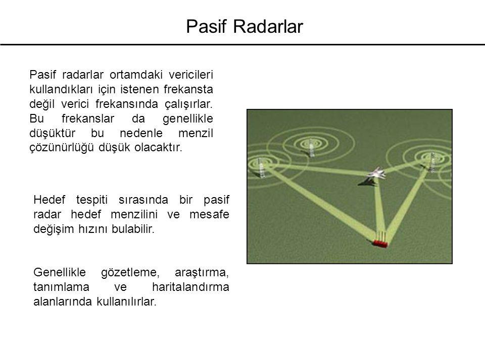 Pasif Radarlar Transmisyon FrekansModülasyon Bant genişliğiERP HF broadcast 10-30 MHz DSB, AM 9 kHz 50 MW VHF FM (analog) 100 MHz FM 50 kHz 250 kW UHF TV (analog) 550 MHz AM, FM 5.5 MHz 1 MW Sayısal broadcast 220 MHz OFDM 220 kHz 10 kW Dijital TV 750 MHz sayısal 6 MHz 8 kW Baz istasyonu 900 MHz, GMSK, FDM, 200 kHz100 W 1.8 GHz TDMA, FDD