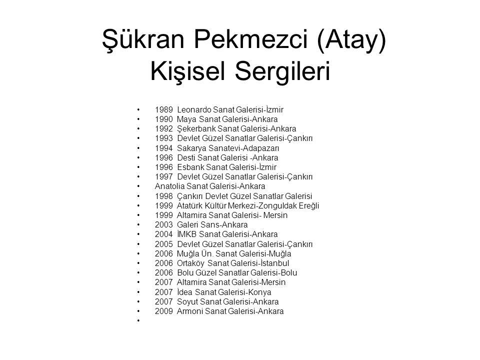 Şükran Pekmezci (Atay) Kişisel Sergileri 1989 Leonardo Sanat Galerisi-İzmir 1990 Maya Sanat Galerisi-Ankara 1992 Şekerbank Sanat Galerisi-Ankara 1993