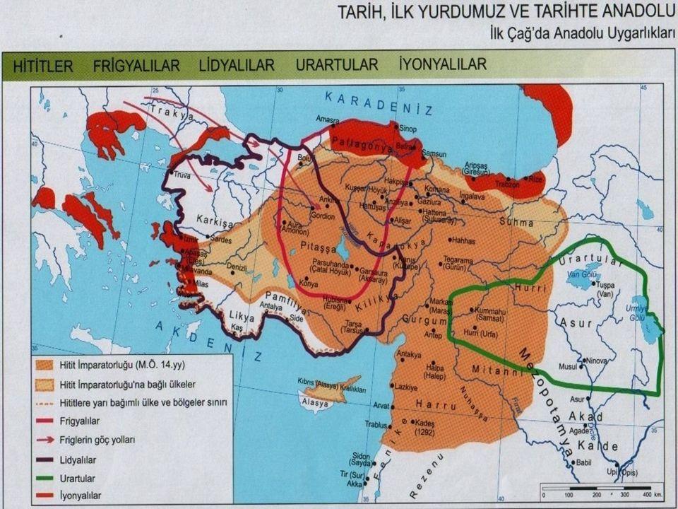 Anadolu da kurulan ilk devletler; 1-Hititler 2-Urartular 3-Frigler 4-Lidyalılar 5-İyonlar dır