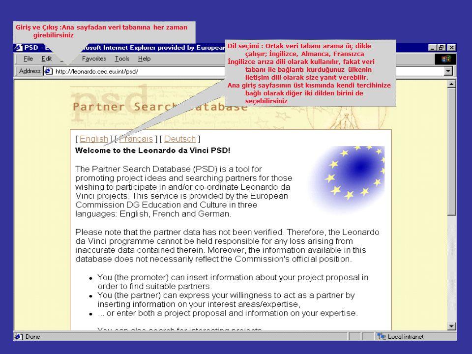 Kayıt olununca, ana giriş sayfasının sonundaki üç seçenekten biri ile PSD'ye girebilirsiniz.