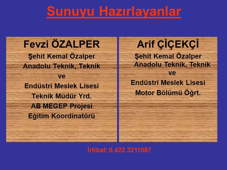 Sunuyu Hazırlayanlar Fevzi ÖZALPER Şehit Kemal Özalper Anadolu Teknik, Teknik ve Endüstri Meslek Lisesi Teknik Müdür Yrd.