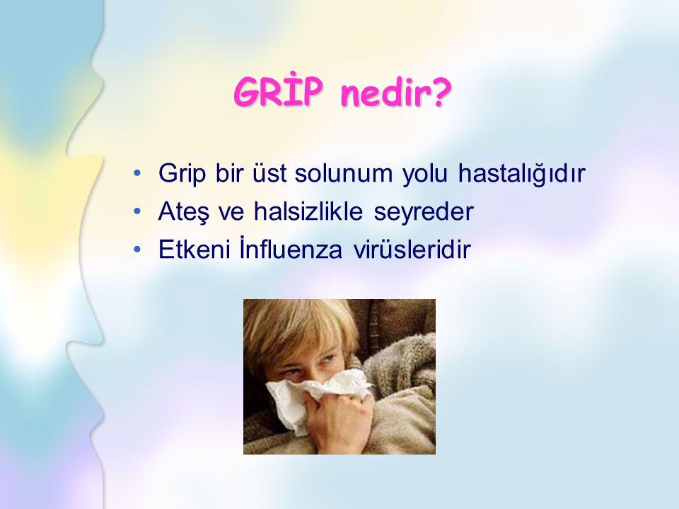 GRİP nedir? Grip bir üst solunum yolu hastalığıdır Ateş ve halsizlikle seyreder Etkeni İnfluenza virüsleridir