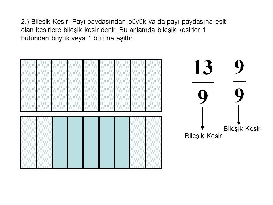 3.) Tam Sayılı Kesir: Bir pozitif tam sayı ve bir basit kesir birlikte alındığında elde edilen kesir tam sayılı kesirdir.