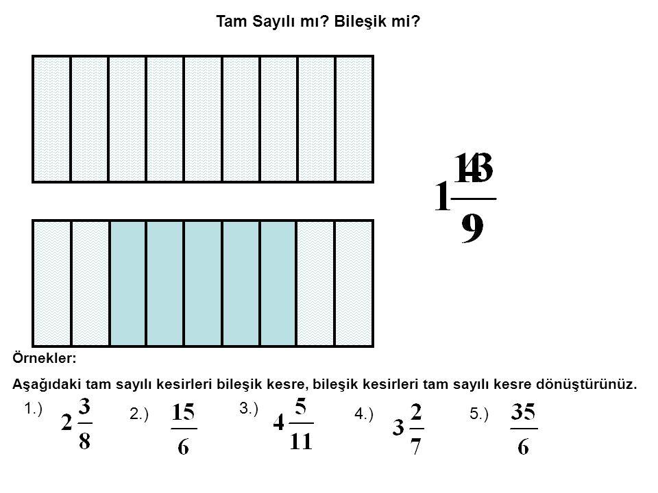 1.) kesrini sayı doğrusunda gösterelim.Payda 5 olduğundan tüm birimler 5 eşit parçaya bölünmeli.