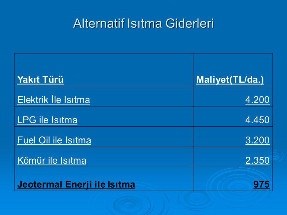 Alternatif Isıtma Giderleri Yakıt TürüMaliyet(TL/da.) Elektrik İle Isıtma4.200 LPG ile Isıtma4.450 Fuel Oil ile Isıtma3.200 Kömür ile Isıtma2.350 Jeotermal Enerji ile Isıtma975