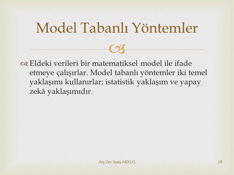   Eldeki verileri bir matematiksel model ile ifade etmeye çalışırlar. Model tabanlı yöntemler iki temel yaklaşımı kullanırlar; istatistik yaklaşım v