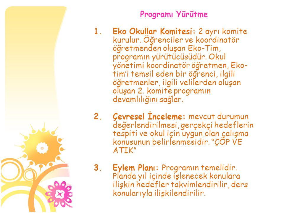 Programı Yürütme 1.Eko Okullar Komitesi: 2 ayrı komite kurulur. Öğrenciler ve koordinatör öğretmenden oluşan Eko-Tim, programın yürütücüsüdür. Okul yö