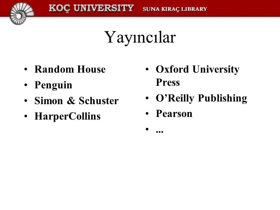 Yayıncılar Random House Penguin Simon & Schuster HarperCollins Oxford University Press O'Reilly Publishing Pearson...