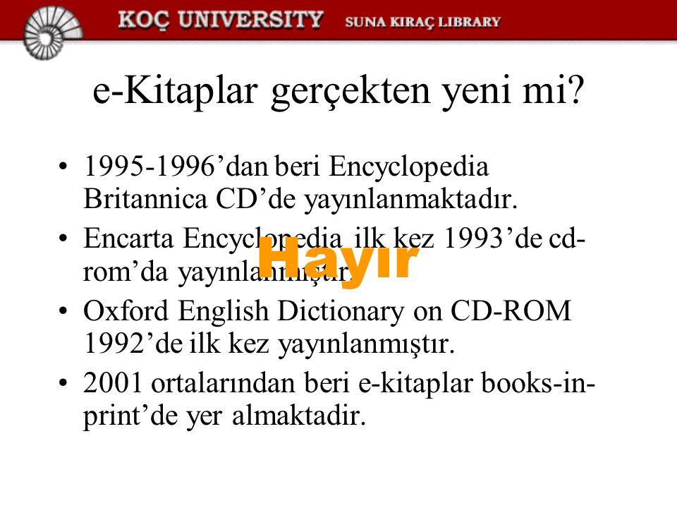 Kütüphanelerde e-Kitap Dolaşım: Off-line ödünç verme Okuma aracı ile beraber ödünç verme Ödünç verilmeden web üzerinde kullandırma Kataloglama: Bazı firmalar MARC kayıtlarını sağlamaktadır E-kaynak kataloglamada OCLC'den faydalanılabilir Okuma aracı kullanılıyorsa, hem araç hem de üzerinde yüklü olan tüm kitaplar kataloglanır