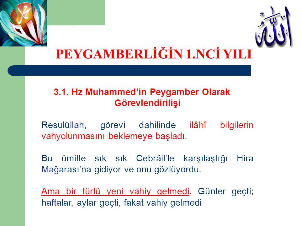 3.1. Hz Muhammed'in Peygamber Olarak Görevlendirilişi Resulüllah, görevi dahilinde ilâhî bilgilerin vahyolunmasını beklemeye başladı. Bu ümitle sık sı