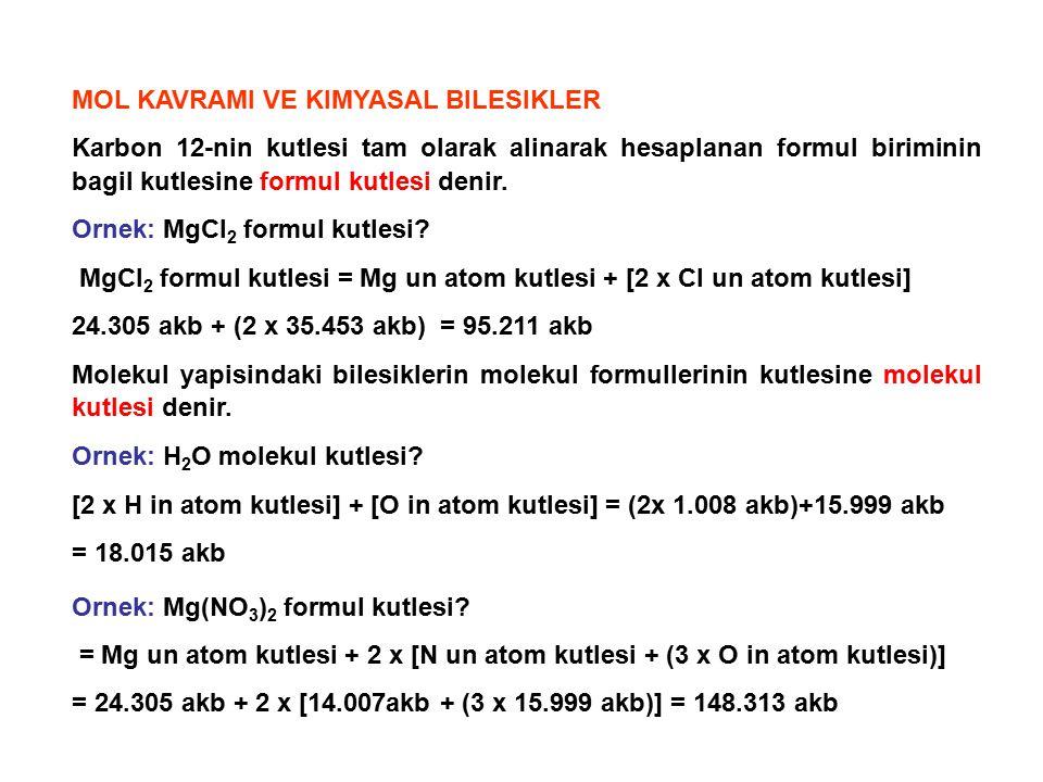 MOL KAVRAMI VE KIMYASAL BILESIKLER Karbon 12-nin kutlesi tam olarak alinarak hesaplanan formul biriminin bagil kutlesine formul kutlesi denir. Ornek: