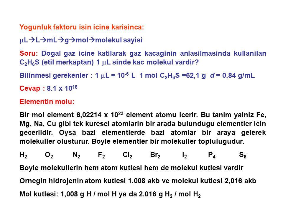 Yogunluk faktoru isin icine karisinca:  L  L  mL  g  mol  molekul sayisi Soru: Dogal gaz icine katilarak gaz kacaginin anlasilmasinda kullanilan