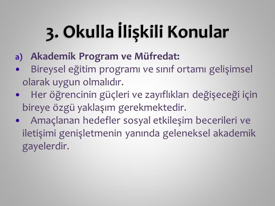 a) Akademik Program ve Müfredat: Bireysel eğitim programı ve sınıf ortamı gelişimsel olarak uygun olmalıdır. Her öğrencinin güçleri ve zayıflıkları de