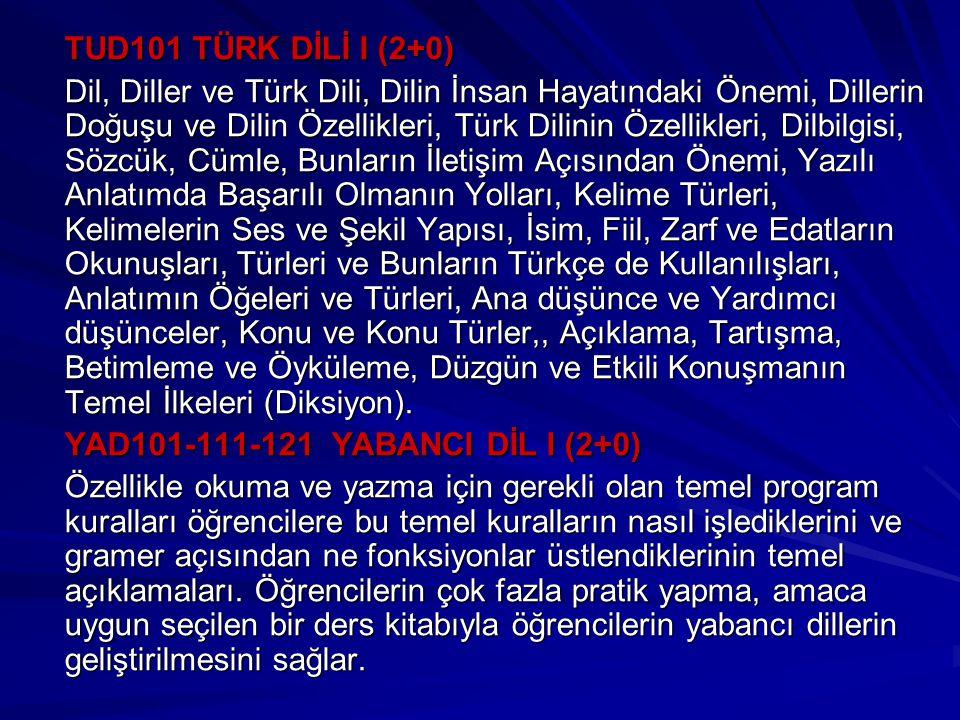 TUD101 TÜRK DİLİ I (2+0) Dil, Diller ve Türk Dili, Dilin İnsan Hayatındaki Önemi, Dillerin Doğuşu ve Dilin Özellikleri, Türk Dilinin Özellikleri, Dilbilgisi, Sözcük, Cümle, Bunların İletişim Açısından Önemi, Yazılı Anlatımda Başarılı Olmanın Yolları, Kelime Türleri, Kelimelerin Ses ve Şekil Yapısı, İsim, Fiil, Zarf ve Edatların Okunuşları, Türleri ve Bunların Türkçe de Kullanılışları, Anlatımın Öğeleri ve Türleri, Ana düşünce ve Yardımcı düşünceler, Konu ve Konu Türler,, Açıklama, Tartışma, Betimleme ve Öyküleme, Düzgün ve Etkili Konuşmanın Temel İlkeleri (Diksiyon).