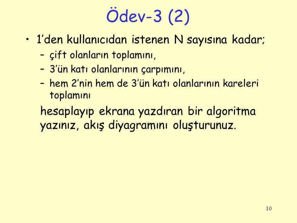 Ödev-3 (2) 1'den kullanıcıdan istenen N sayısına kadar; –çift olanların toplamını, –3'ün katı olanlarının çarpımını, –hem 2'nin hem de 3'ün katı olanl