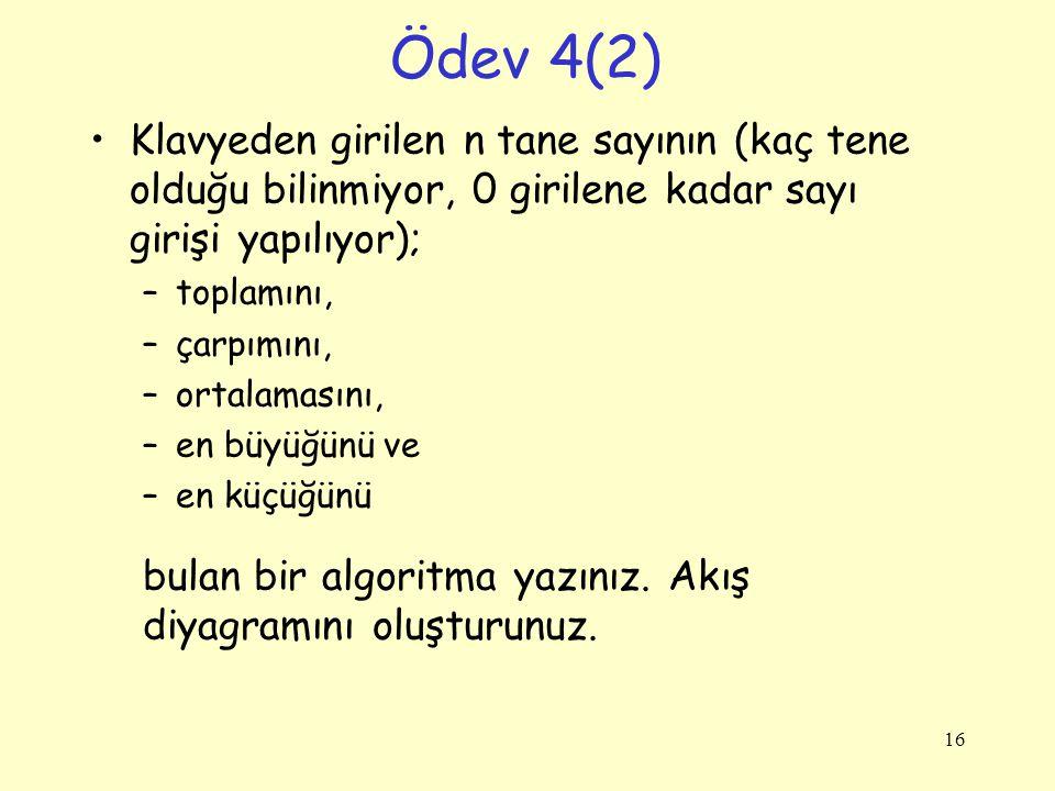Ödev 4(2) Klavyeden girilen n tane sayının (kaç tene olduğu bilinmiyor, 0 girilene kadar sayı girişi yapılıyor); –toplamını, –çarpımını, –ortalamasını