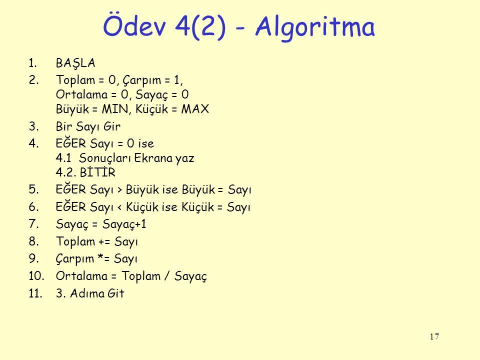 Ödev 4(2) - Algoritma 1.BAŞLA 2.Toplam = 0, Çarpım = 1, Ortalama = 0, Sayaç = 0 Büyük = MIN, Küçük = MAX 3.Bir Sayı Gir 4.EĞER Sayı = 0 ise 4.1 Sonuçl