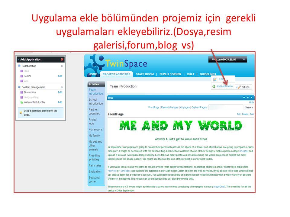 Uygulama ekle bölümünden projemiz için gerekli uygulamaları ekleyebiliriz.(Dosya,resim galerisi,forum,blog vs)