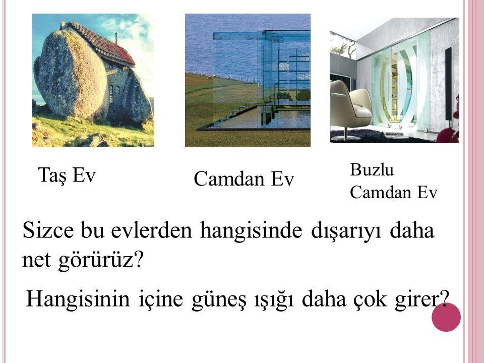 Taş Ev Camdan Ev Buzlu Camdan Ev Sizce bu evlerden hangisinde dışarıyı daha net görürüz? Hangisinin içine güneş ışığı daha çok girer?