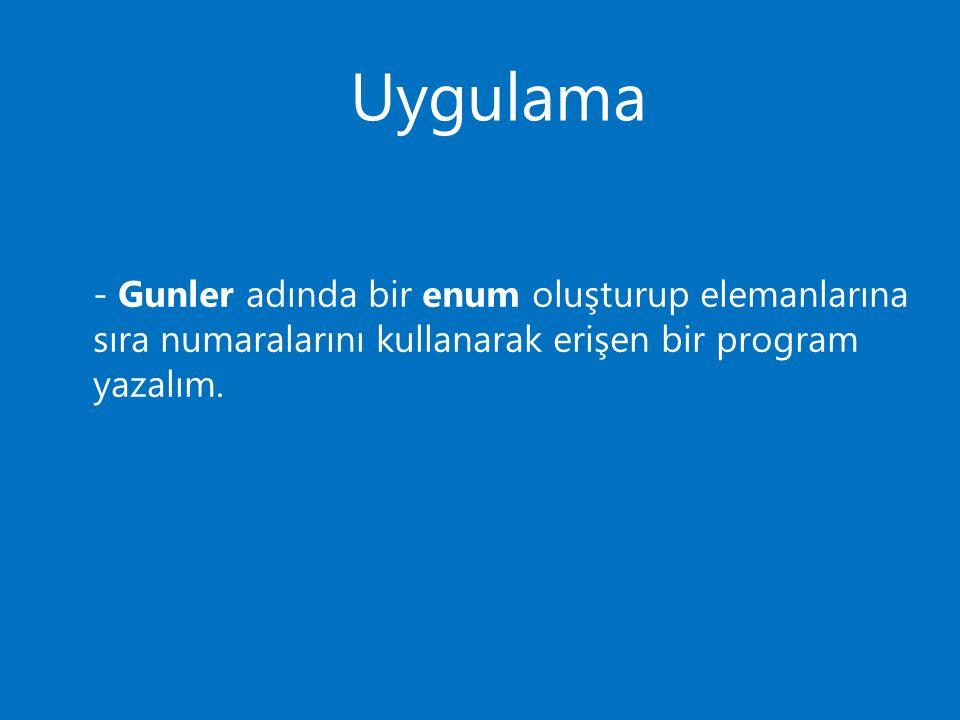 Uygulama - Gunler adında bir enum oluşturup elemanlarına sıra numaralarını kullanarak erişen bir program yazalım.