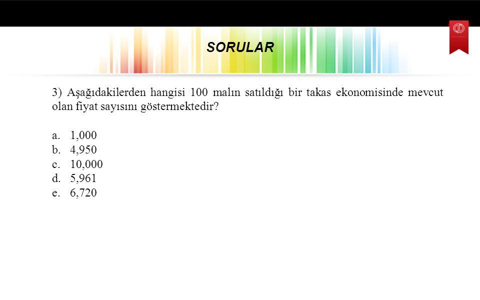3) Aşağıdakilerden hangisi 100 malın satıldığı bir takas ekonomisinde mevcut olan fiyat sayısını göstermektedir? a.1,000 b.4,950 c.10,000 d.5,961 e.6,