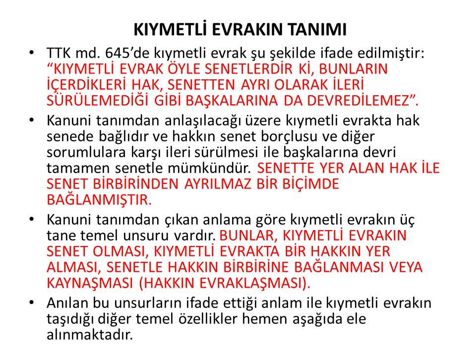 KIYMETLİ EVRAKIN TANIMI TTK md.