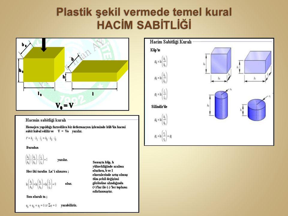 Problem Yumuşak tavlı C35 (% 0,35 C) çeliğinden çapı d 0 = 20 mm olan silindirik parça 10 mm yükseklikten 5 mm' lik yüksekliğe soğuk dövmeyle indirilmektedir.