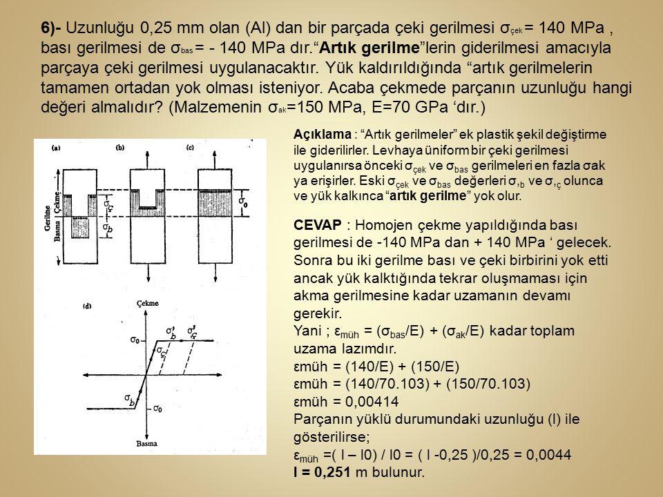 """6)- Uzunluğu 0,25 mm olan (Al) dan bir parçada çeki gerilmesi σ çek = 140 MPa, bası gerilmesi de σ bas = - 140 MPa dır.""""Artık gerilme""""lerin giderilmes"""