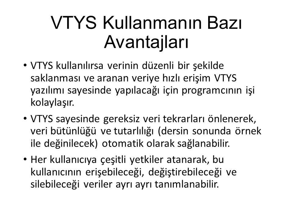 VTYS Kullanmanın Bazı Avantajları VTYS kullanılırsa verinin düzenli bir şekilde saklanması ve aranan veriye hızlı erişim VTYS yazılımı sayesinde yapıl