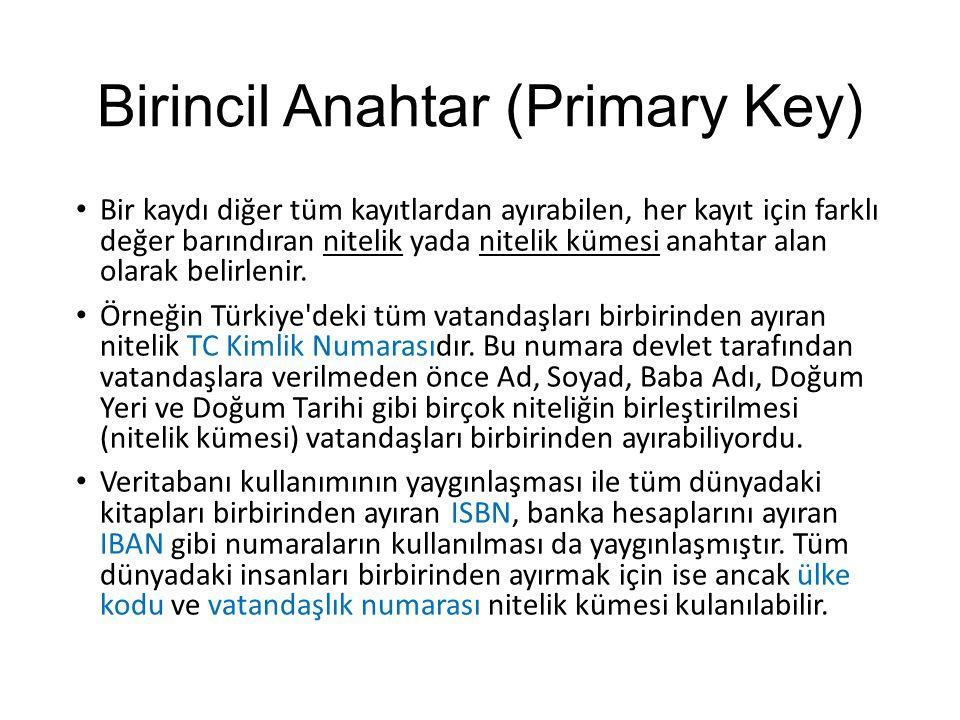 Birincil Anahtar (Primary Key) Bir kaydı diğer tüm kayıtlardan ayırabilen, her kayıt için farklı değer barındıran nitelik yada nitelik kümesi anahtar