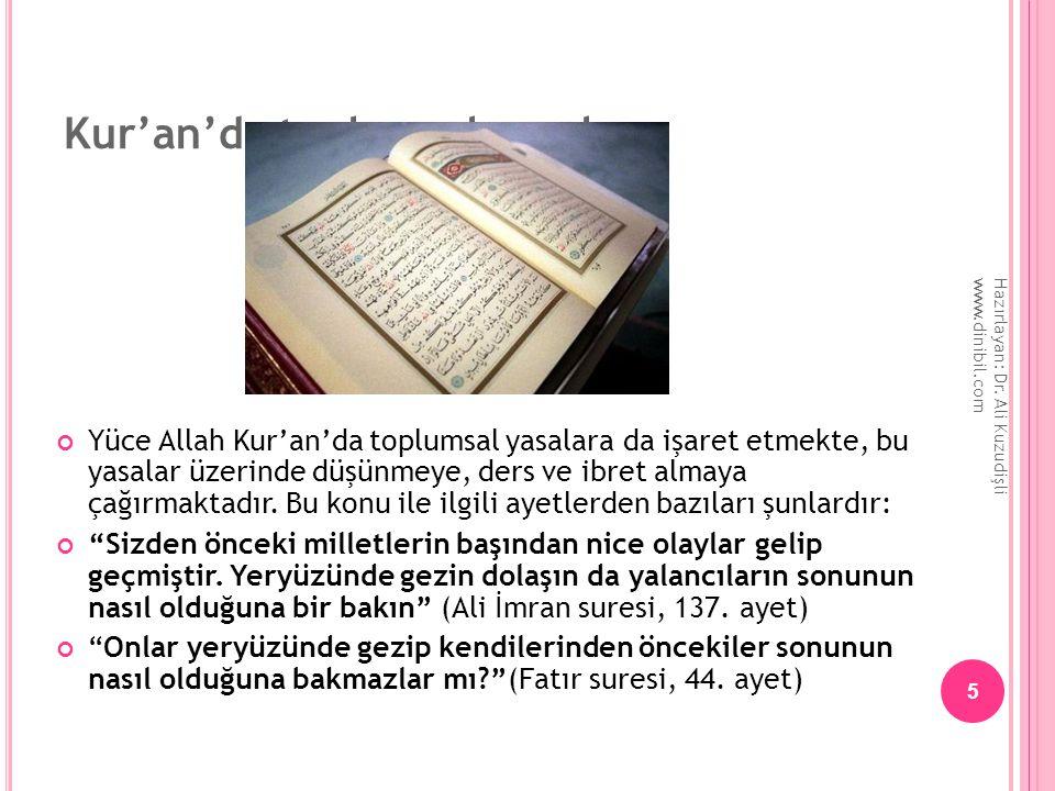 Kur'an'da toplumsal yasalar Yüce Allah Kur'an'da toplumsal yasalara da işaret etmekte, bu yasalar üzerinde düşünmeye, ders ve ibret almaya çağırmaktad