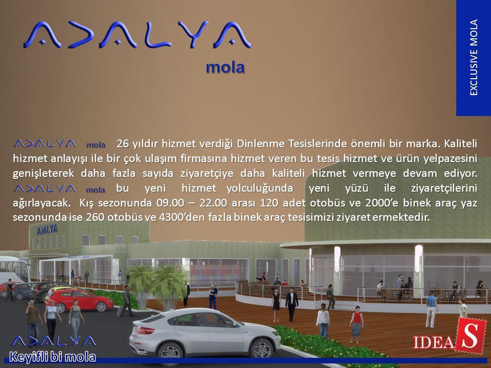 EXCLUSIVE MOLA 26 yıldır hizmet verdiği Dinlenme Tesislerinde önemli bir marka. Kaliteli hizmet anlayışı ile bir çok ulaşım firmasına hizmet veren bu