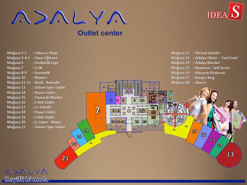 Mağaza 1-2 Mağaza 3-4-5 Mağaza 6 Mağaza 7 Mağaza 8-9 Mağaza 10 Mağaza 11-12 Mağaza 13 Mağaza 14 Mağaza 15 Mağaza 16 Mağaza 17 Mağaza 18 Mağaza 19 Mağaza 20 Mağaza 21 : Tobacco Shop : Oyun Eğlence : Hediyelik Eşya : LCW : Kozmetik : Bijuteri : Simit - Kahvaltı : Unisex Spor Giyim : Bayan Giyim : Oyuncak Market : Erkek Giyim : Ev Tekstili : Bayan Giyim : Erkek Giyim : İç Giyim - Mayo : Unisex Spor Giyim Mağaza 22 Mağaza 23 Mağaza 24 Mağaza 25 Mağaza 26 Mağaza 27 Mağaza 28 : Yöresel ürünler : Adalya Döner – Fast Food : Adalya Market : Restoran - Self Servis : Alacarte Restoran : Burger King : Sbarro