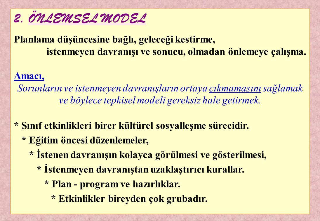 1. TEPK İ SEL MODEL (Klasik model) İstenmeyen bir düzenleniş sonucuna veya bir davranışa tepki olan model. * İstenmeyen sonuç - tepki şeklinde işler.