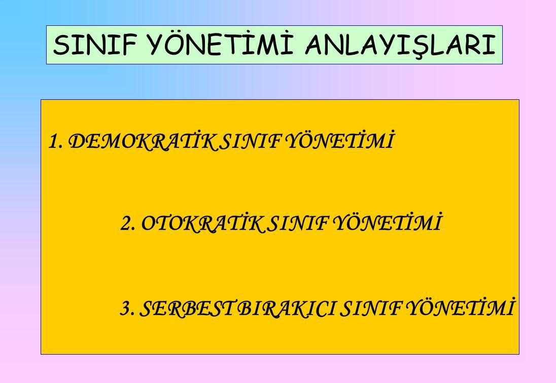 SINIF YÖNETİMİ ANLAYIŞLARI 1.DEMOKRATİK SINIF YÖNETİMİ 2.