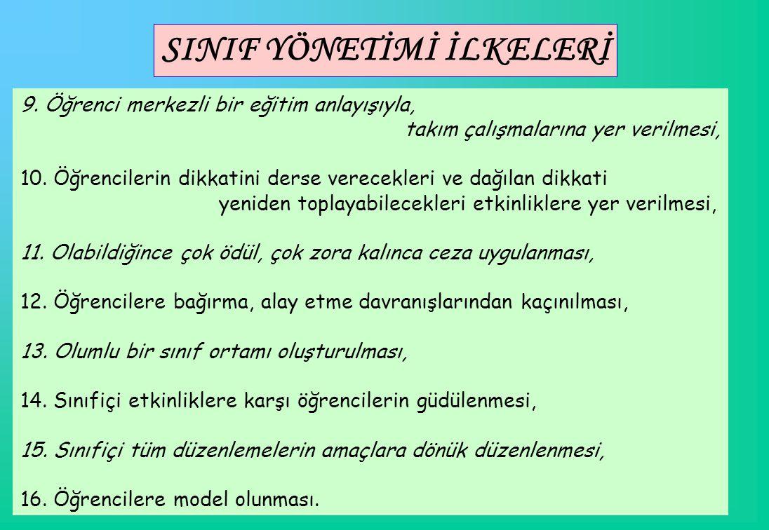 SINIF YÖNETİMİ İLKELERİ 9.