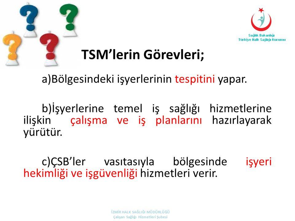 TSM'lerin Görevleri; a)Bölgesindeki işyerlerinin tespitini yapar.