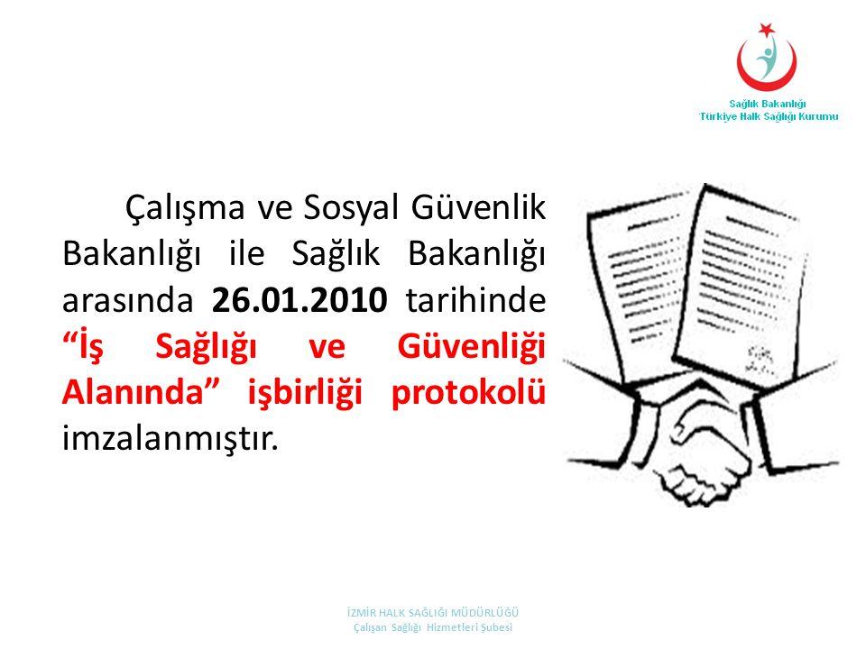 Çalışma ve Sosyal Güvenlik Bakanlığı ile Sağlık Bakanlığı arasında 26.01.2010 tarihinde İş Sağlığı ve Güvenliği Alanında işbirliği protokolü imzalanmıştır.