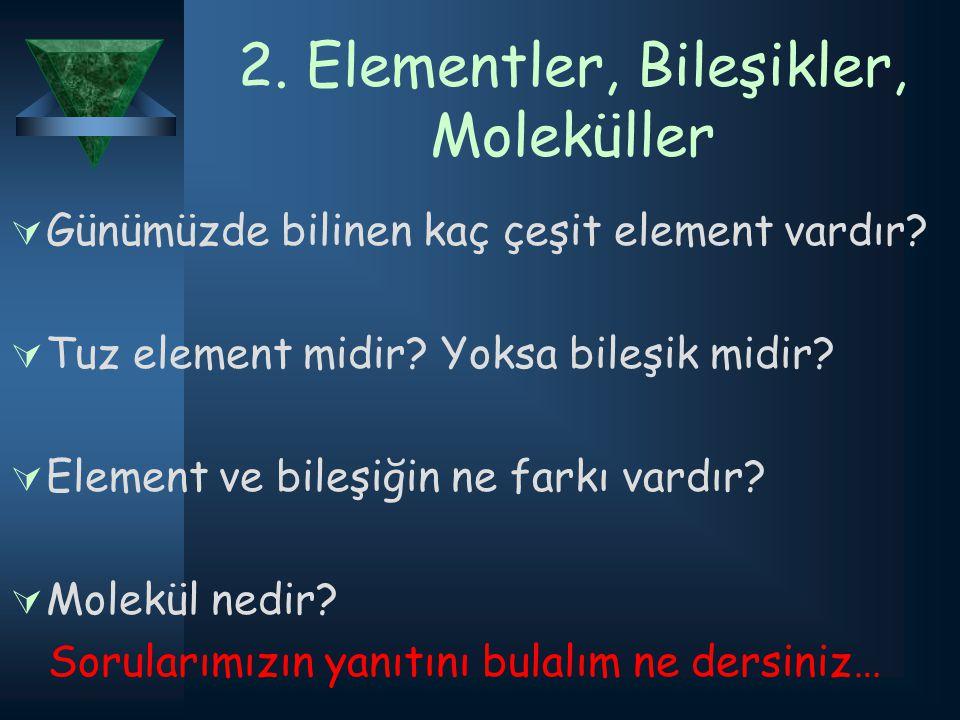 2. Elementler, Bileşikler, Moleküller GGünümüzde bilinen kaç çeşit element vardır? TTuz element midir? Yoksa bileşik midir? EElement ve bileşiği