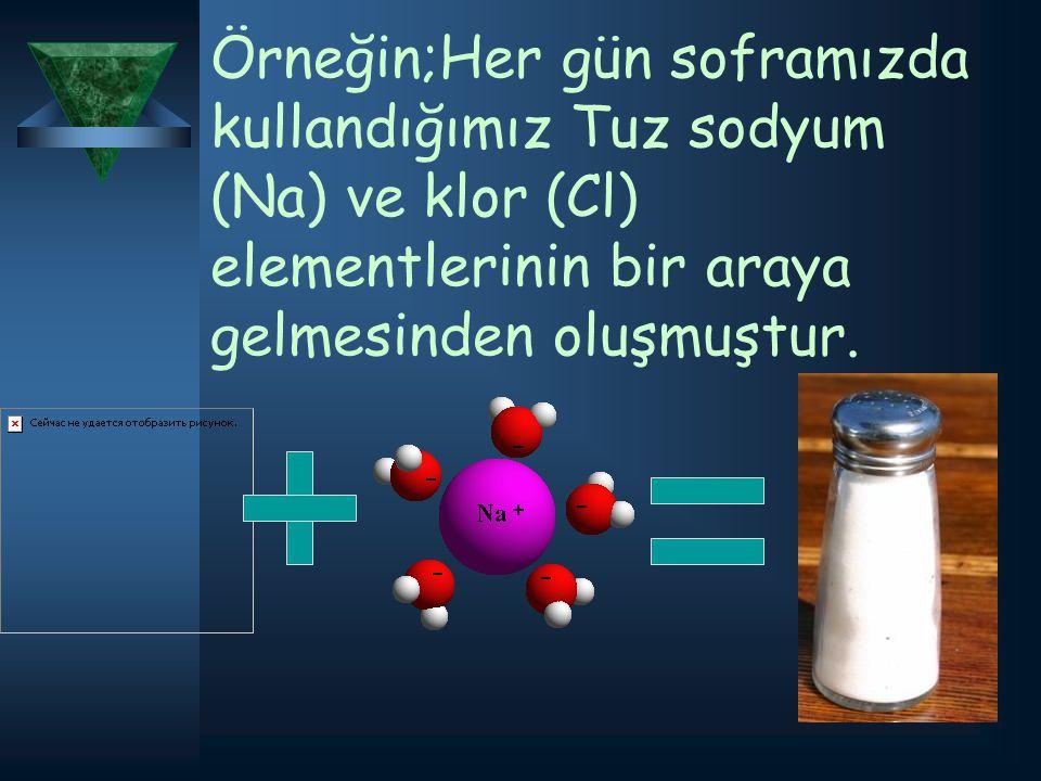 Örneğin;Her gün soframızda kullandığımız Tuz sodyum (Na) ve klor (Cl) elementlerinin bir araya gelmesinden oluşmuştur.