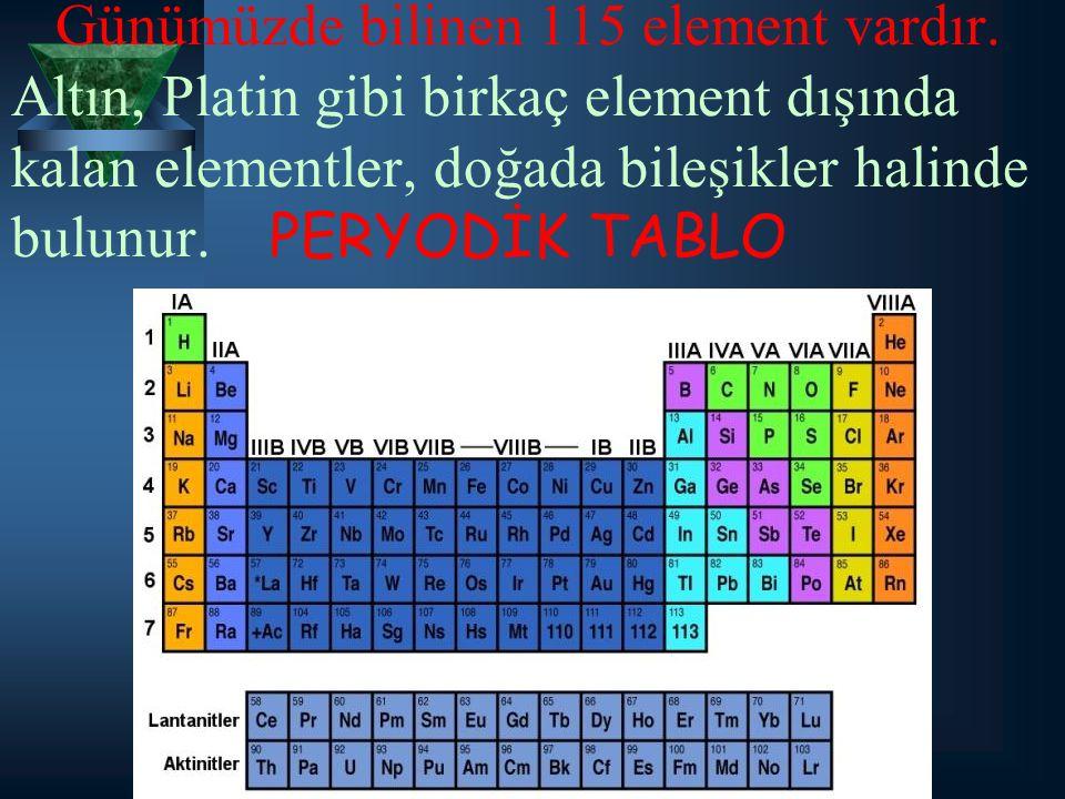Günümüzde bilinen 115 element vardır. Altın, Platin gibi birkaç element dışında kalan elementler, doğada bileşikler halinde bulunur. PERYODİK TABLO