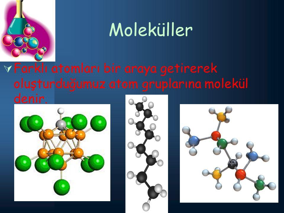 Moleküller FFarklı atomları bir araya getirerek oluşturduğumuz atom gruplarına molekül denir.