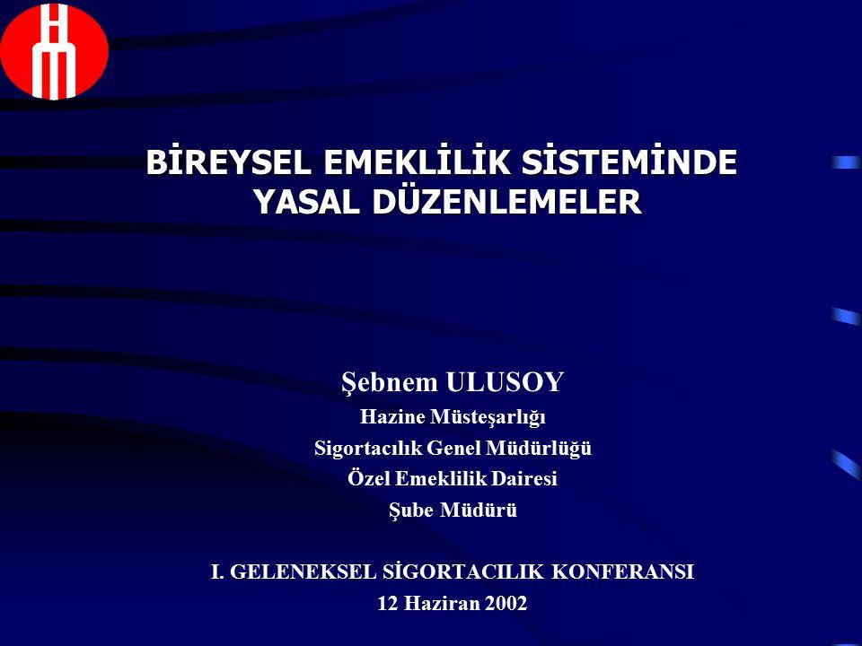 Şebnem ULUSOY Hazine Müsteşarlığı Sigortacılık Genel Müdürlüğü Özel Emeklilik Dairesi Şube Müdürü I.